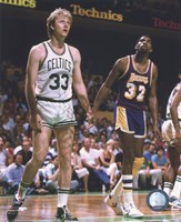 Larry Bird and Magic Johnson On The Court Fine Art Print