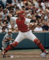 Carlton Fisk - Throwing in catchers gear Fine Art Print