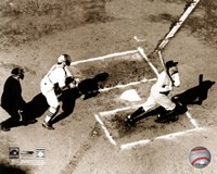 Babe Ruth - Homeplate action, sepia Fine Art Print