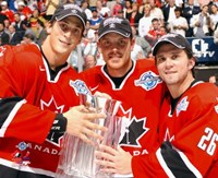 """Vincent Lecavier, Brad Richards, Martin St. Louis with 2004 World Cup Trophy by Angela Ferrante, 2004 - 10"""" x 8"""" - $12.99"""