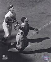 Yogi Berra - catching action / sepia Fine Art Print
