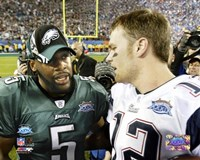 Tom Brady & Donovan McNabb - Super Bowl XXXIX - talk after game Fine Art Print
