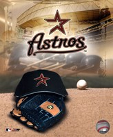 Houston Astros - '05 Logo / Cap and Glove Framed Print