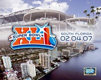 "Super Bowl XLI - 2/04/07 Logo-Stadium / Aerial Miami City View by Angela Ferrante - 10"" x 8"""