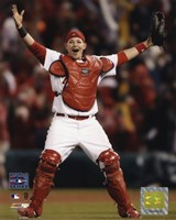 Yadier Molina - Celebrates Winning 2006 World Series Framed Print