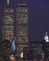 Wtc With Statue Of Liberty Fine Art Print