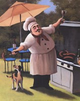 Barbecue Chef with Dog Fine Art Print