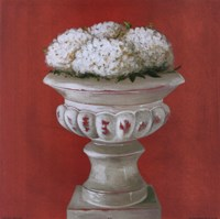 White Flowers In Glass Pot Fine Art Print