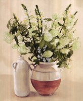 White Flowers In Vase With Bottle Fine Art Print