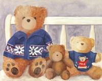 Bears With Blue Sweaters Fine Art Print