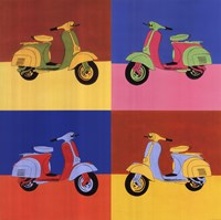 Four Motor Scooters Fine Art Print