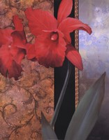 "Orchid Redteal Damasque by T.C. Chiu - 22"" x 28"""