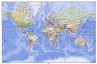 Political/Physical Map of the World - (mercator projection) Fine Art Print