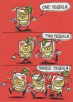 Birthday Tequila Funny Cartoon Greeting Card