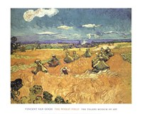 Harvest in Provence of Wheat Field with Sheaves, c.1888 Fine Art Print