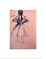 """Study of Dancer from Behind, Hands at her Side. c.1873 by Edgar Degas, 1873 - 14"""" x 18"""""""