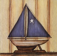 """Sailboat with Star by Kim Lewis - 8"""" x 8"""""""