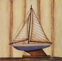 "Pinstripe Sailboat by Kim Lewis - 8"" x 8"""