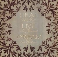 Heal Live Dream Framed Print