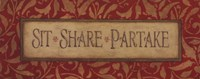 Sit Share Partake Fine Art Print