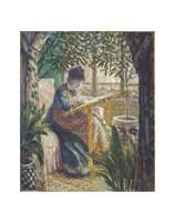 Madame Monet Embroidering, c.1875 Fine Art Print
