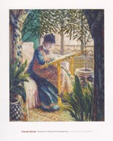 """Madame Monet Embroidering, 1875 by Claude Monet, 1875 - 24"""" x 30"""""""