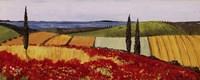 Poppies and Three Cypress Fine Art Print