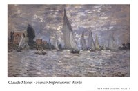 "Les Barques, Regates a Argenteuil by Claude Monet - 36"" x 24"""
