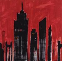 Red Cityscape Framed Print