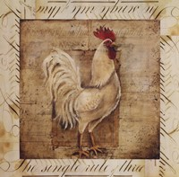 """Rustic Farmhouse Rooster I - special by Kimberly Poloson - 20"""" x 20"""""""