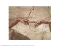 "Creation of Adam (hands detail) by Michelangelo Buonarroti - 14"" x 11"""