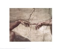 "Creation of Adam (hands detail) by Michelangelo Buonarroti - 20"" x 16"""