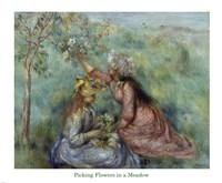 Girls Picking Flowers in a Meadow, c.1890 Fine Art Print