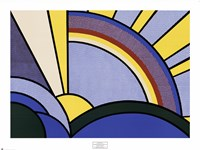 Modern Painting of Sun Rays Framed Print