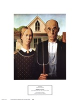 "American Gothic, 1930 by Grant Wood, 1930 - 12"" x 14"""