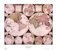 "Atlas Major World Map by Mali Nave - 31"" x 28"""