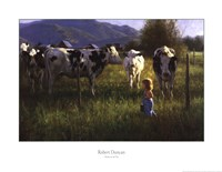 Anniken and the Cows Fine Art Print