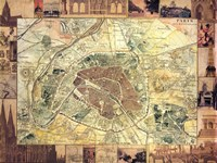 Carte de Paris II Fine Art Print