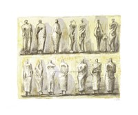 """Standing Figures (serigraph) by H. Moore - 43"""" x 36"""""""