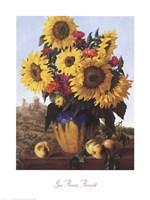 Sunflowers Over Castle Ruin Fine Art Print