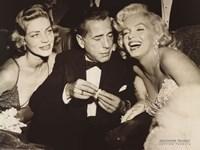 Hollywood Triangle (Bacall, Bogart, Monroe) Framed Print