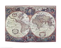 New Earth Water Map of the Entire World Fine Art Print