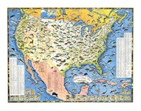 Outdoor Life Sportsmen's Fish Map Fine Art Print