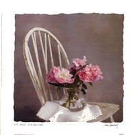"""Old Chair With Peonies by Judy Mandolf - 10"""" x 10"""""""