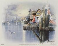 Fishing Docks - seagull Fine Art Print