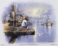Little Girl Fishing on Dock Fine Art Print
