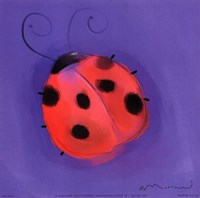Ladybug On Blue Fine Art Print