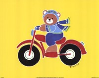 Bear on Motorcycle Fine Art Print