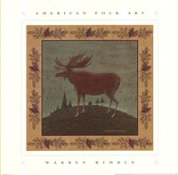 Folk Moose Framed Print