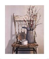 Watering Can On Chair Fine Art Print